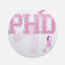 PHD initials, Pink Ribbon, Round Ornament
