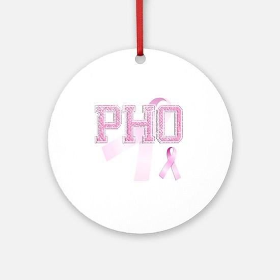 PHO initials, Pink Ribbon, Round Ornament
