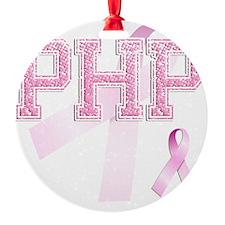 PHP initials, Pink Ribbon, Ornament