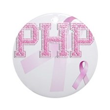 PHP initials, Pink Ribbon, Round Ornament