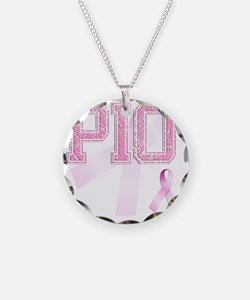 PIO initials, Pink Ribbon, Necklace