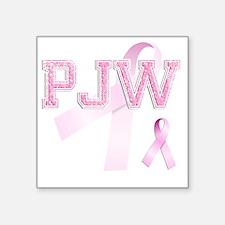 """PJW initials, Pink Ribbon, Square Sticker 3"""" x 3"""""""