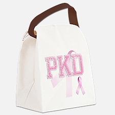 PKD initials, Pink Ribbon, Canvas Lunch Bag