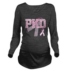 PKD initials, Pink R Long Sleeve Maternity T-Shirt