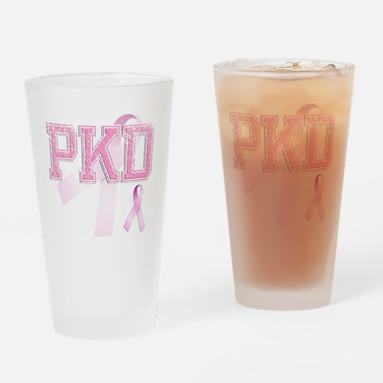 PKD initials, Pink Ribbon, Drinking Glass