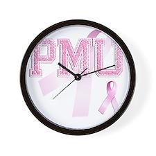 PMU initials, Pink Ribbon, Wall Clock