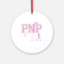 PNP initials, Pink Ribbon, Round Ornament