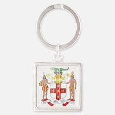 Jamaica Coat of Arms wood Square Keychain