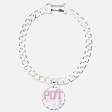 POT initials, Pink Ribbo Bracelet