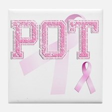 POT initials, Pink Ribbon, Tile Coaster