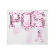 PQS initials, Pink Ribbon, Throw Blanket