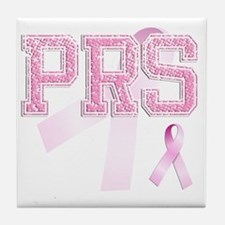 PRS initials, Pink Ribbon, Tile Coaster