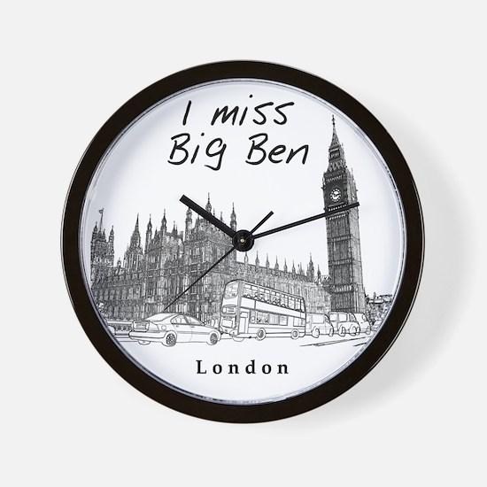 London_10x10_ImissBigBen_Black Wall Clock