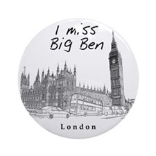 London_10x10_ImissBigBen_Black Round Ornament