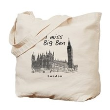 London_10x10_ImissBigBen_Black Tote Bag