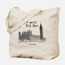 London_12x12_ImissBigBen_Black Tote Bag