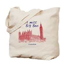 London_12x12_ImissBigBen_BlueRed Tote Bag