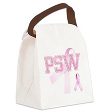 PSW initials, Pink Ribbon, Canvas Lunch Bag