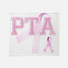 PTA initials, Pink Ribbon, Throw Blanket