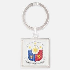the Philippines Coat of Arms wood Square Keychain