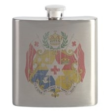 Tonga Coat of Arms wood Flask