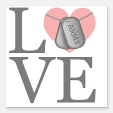 "Army Love Square Car Magnet 3"" x 3"""