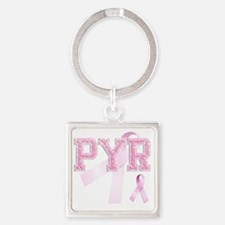 PYR initials, Pink Ribbon, Square Keychain