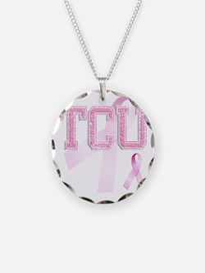TCU initials, Pink Ribbon, Necklace