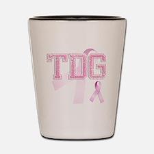 TDG initials, Pink Ribbon, Shot Glass