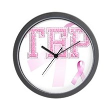 TEP initials, Pink Ribbon, Wall Clock