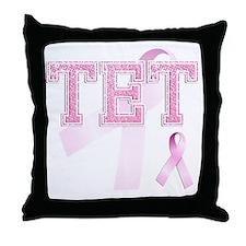 TET initials, Pink Ribbon, Throw Pillow
