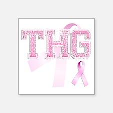 """THG initials, Pink Ribbon, Square Sticker 3"""" x 3"""""""