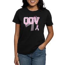 QOV initials, Pink Ribbon, Tee