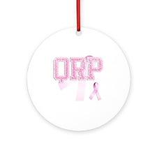 QRP initials, Pink Ribbon, Round Ornament