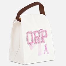 QRP initials, Pink Ribbon, Canvas Lunch Bag