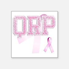 """QRP initials, Pink Ribbon, Square Sticker 3"""" x 3"""""""