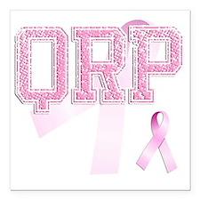 "QRP initials, Pink Ribbo Square Car Magnet 3"" x 3"""