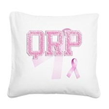 QRP initials, Pink Ribbon, Square Canvas Pillow