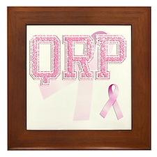 QRP initials, Pink Ribbon, Framed Tile