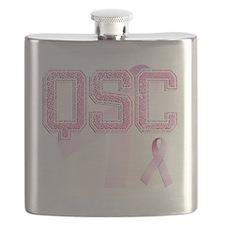 QSC initials, Pink Ribbon, Flask