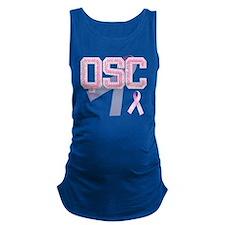 QSC initials, Pink Ribbon, Maternity Tank Top