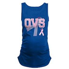 QVS initials, Pink Ribbon, Maternity Tank Top