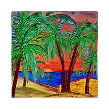 Mountain Sunset Palms Queen Duvet