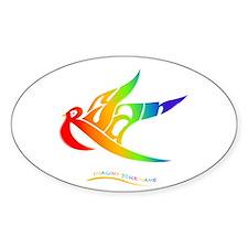 Ryan rainbow bird Oval Decal