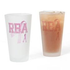 RBA initials, Pink Ribbon, Drinking Glass