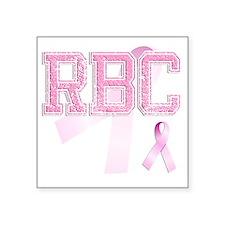 """RBC initials, Pink Ribbon, Square Sticker 3"""" x 3"""""""
