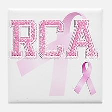 RCA initials, Pink Ribbon, Tile Coaster