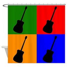 Guitar Pop Art Shower Curtain