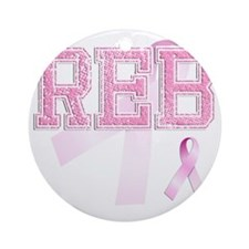 REB initials, Pink Ribbon, Round Ornament
