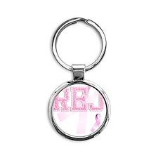 REJ initials, Pink Ribbon, Round Keychain